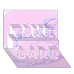 Unique Marbled 2 Baby Pink Take Care 3d Greeting Card (7x5)