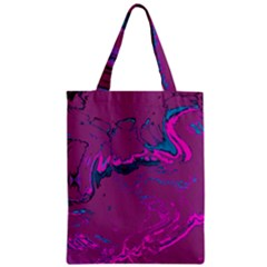 Unique Marbled 2 Hot Pink Zipper Classic Tote Bags