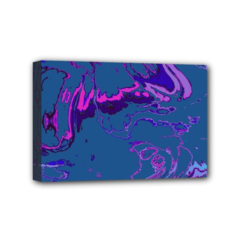 Unique Marbled 2 Blue Mini Canvas 6  X 4  by MoreColorsinLife