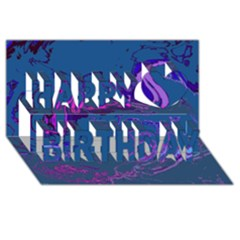 Unique Marbled 2 Blue Happy Birthday 3d Greeting Card (8x4)  by MoreColorsinLife
