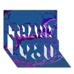 Unique Marbled 2 Blue Thank You 3d Greeting Card (7x5)