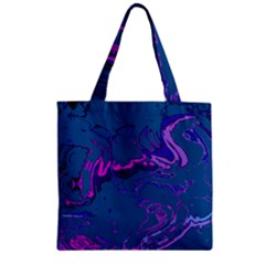 Unique Marbled 2 Blue Zipper Grocery Tote Bags by MoreColorsinLife