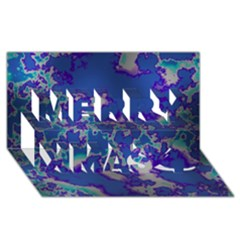 Unique Marbled Blue Merry Xmas 3d Greeting Card (8x4)  by MoreColorsinLife