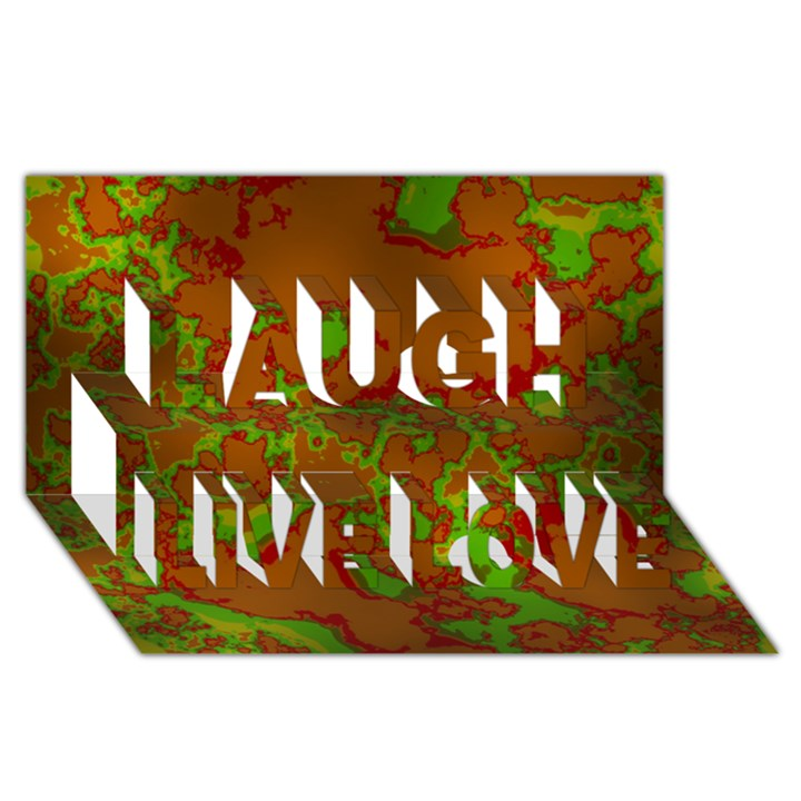 Unique Marbled Hot Laugh Live Love 3D Greeting Card (8x4)