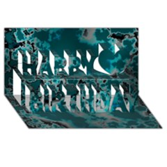 Unique Marbled Teal Happy Birthday 3d Greeting Card (8x4)  by MoreColorsinLife
