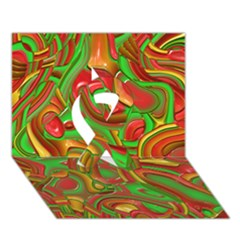 Art Deco Red Green Ribbon 3d Greeting Card (7x5)