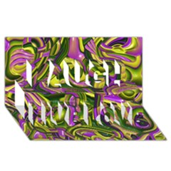 Art Deco Yellow Green Laugh Live Love 3D Greeting Card (8x4)  by MoreColorsinLife