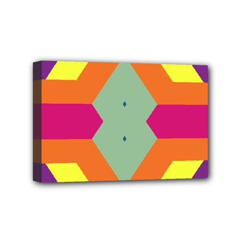 Colorful Rhombus And Stripes Mini Canvas 6  X 4  (stretched) by LalyLauraFLM