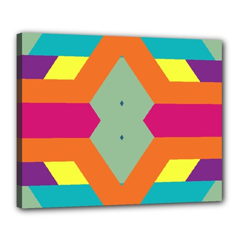 Colorful Rhombus And Stripes Canvas 20  X 16  (stretched) by LalyLauraFLM