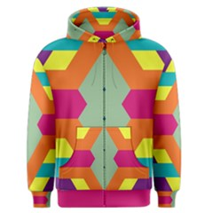 Colorful Rhombus And Stripes Men s Zipper Hoodie by LalyLauraFLM