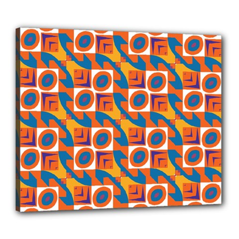 Squares And Other Shapes Pattern Canvas 24  X 20  (stretched) by LalyLauraFLM
