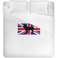 Bulldog Silhouette on flag Duvet Cover (King Size) by TailWags