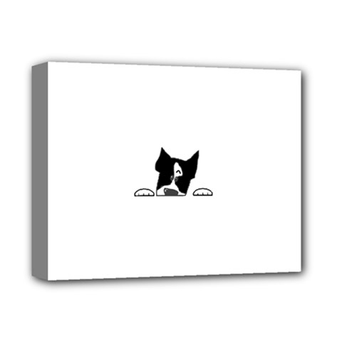 Peeping Boston Terrier Deluxe Canvas 14  x 11  by TailWags