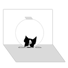 Peeping Boston Terrier Circle 3D Greeting Card (7x5)  by TailWags