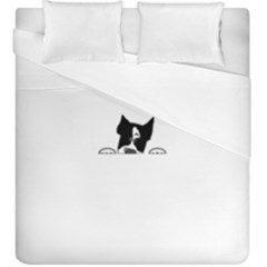 Peeping Boston Terrier Duvet Cover (King Size) by TailWags