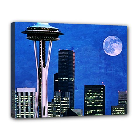 Blue Seattle Space Needle Canvas 14  X 11  by stineshop