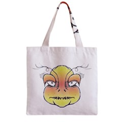 Angry Monster Portrait Drawing Zipper Grocery Tote Bags by dflcprints