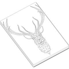 Modern Geometric Christmas Deer Illustration Large Memo Pads by Dushan