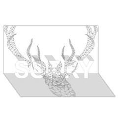 Modern Geometric Christmas Deer Illustration Sorry 3d Greeting Card (8x4)