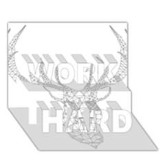 Modern Geometric Christmas Deer Illustration Work Hard 3d Greeting Card (7x5)
