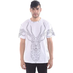 Modern Geometric Christmas Deer Illustration Men s Sport Mesh Tees by Dushan