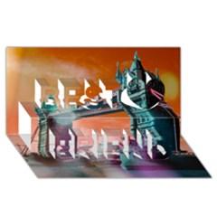 London Tower Bridge, Bokeh Orange Best Friends 3d Greeting Card (8x4)