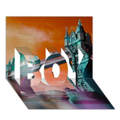 London Tower Bridge, Bokeh Orange Boy 3d Greeting Card (7x5)