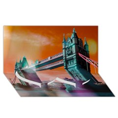 London Tower Bridge, Bokeh Orange Twin Heart Bottom 3d Greeting Card (8x4)  by MoreColorsinLife