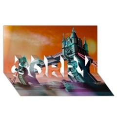 London Tower Bridge, Bokeh Orange Sorry 3d Greeting Card (8x4)