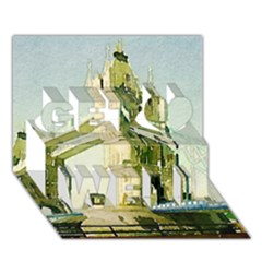 Watercolors, London Tower Bridge Get Well 3d Greeting Card (7x5)