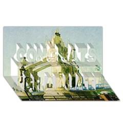 Watercolors, London Tower Bridge Congrats Graduate 3d Greeting Card (8x4)  by MoreColorsinLife