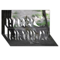 White Wolf Happy Birthday 3d Greeting Card (8x4)