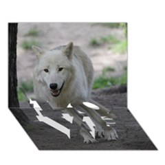 White Wolf Love Bottom 3d Greeting Card (7x5)