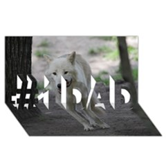White Wolf #1 Dad 3d Greeting Card (8x4)  by MoreColorsinLife