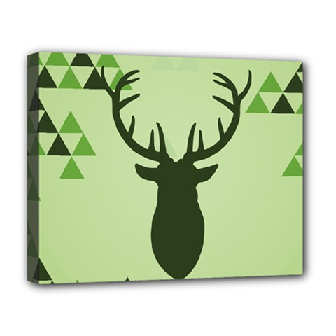 Modern Geometric Black And Green Christmas Deer Deluxe Canvas 20  X 16