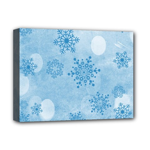 Winter Bokeh Blue Deluxe Canvas 16  X 12   by MoreColorsinLife