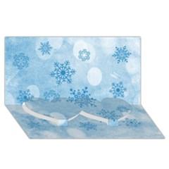 Winter Bokeh Blue Twin Heart Bottom 3d Greeting Card (8x4)  by MoreColorsinLife