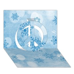 Winter Bokeh Blue Peace Sign 3d Greeting Card (7x5)