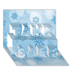Winter Bokeh Blue Take Care 3d Greeting Card (7x5)