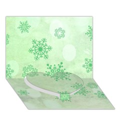 Winter Bokeh Green Heart Bottom 3d Greeting Card (7x5)  by MoreColorsinLife