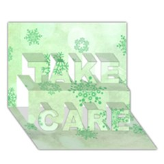 Winter Bokeh Green Take Care 3d Greeting Card (7x5)  by MoreColorsinLife