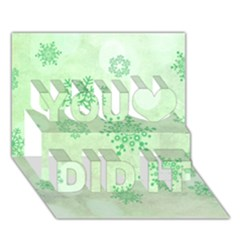 Winter Bokeh Green You Did It 3d Greeting Card (7x5)