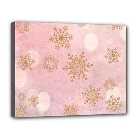 Winter Bokeh Pink Canvas 14  X 11  by MoreColorsinLife