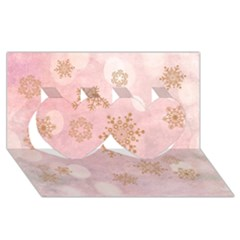 Winter Bokeh Pink Twin Hearts 3d Greeting Card (8x4)