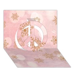 Winter Bokeh Pink Peace Sign 3d Greeting Card (7x5)