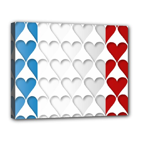 France Hearts Flag Canvas 14  X 11  by theimagezone