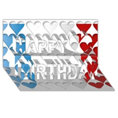 France Hearts Flag Happy Birthday 3d Greeting Card (8x4)  by theimagezone