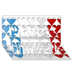 France Hearts Flag Happy New Year 3d Greeting Card (8x4)  by theimagezone