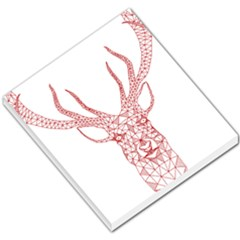 Modern Red Geometric Christmas Deer Illustration Small Memo Pads by Dushan