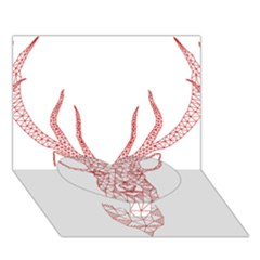 Modern Red Geometric Christmas Deer Illustration Heart Bottom 3d Greeting Card (7x5)